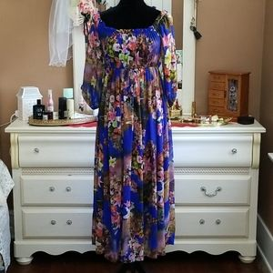 blue floral Hawaiian style maxi dress
